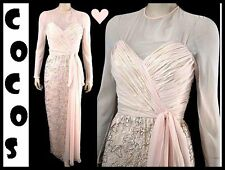 VTG 70s 50s VICTORIA ROYAL Ruched Chiffon Over Lame & Bead Lace Party Dress S
