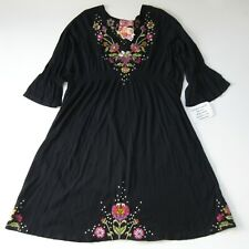 NWT JWLA Johnny Was Floral Embroidered Fit & Flare in Black Cotton Dress 3X