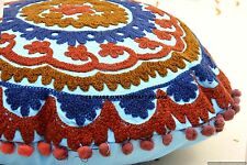 """INDIAN SUZANI EMBROIDERED ROUND PILLOW CUSHION COVER CASE Decorative Throw 16"""""""