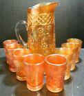 Vintage (9) Piece Dugan Carnival Glass Daisy Lattice Pitcher Set Excellent Cond