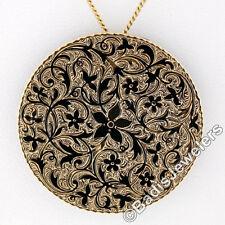 Antique Victorian 14K Gold Detailed Floral Black Enamel Mourning Brooch Pendant