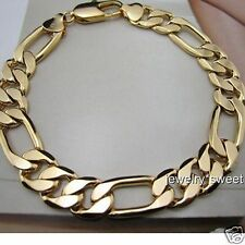 24k Yellow Gold Filled Mens Bracelet Figaro Link Chain 10mm/9.44""