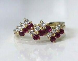 18ct solid yellow gold with Ruby & Diamond ring 3.51g size M 1/2 -  6 1/4