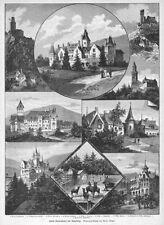 Kronberg, Schloss Friedrichshof, Sammelblatt, Original-Holzstich von 1894