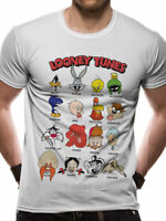 Looney Tunes Faces Official Bugs Bunny Daffy Duck White Mens T-shirt