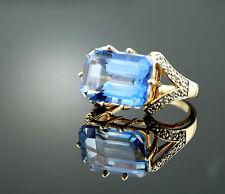 Vtg Estate Solid 10k Yellow Gold 5.2g Blue Beryl & Diamond Ring sz 7.25