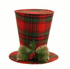 "RAZ Import~7"" JINGLE RED/GREEN PLAID SNOWMAN TOP HAT~TREE TOPPER/ORNAMENT~Wreath"