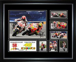New Valentino Rossi & Marco Simoncelli Signed Framed Memorabilia