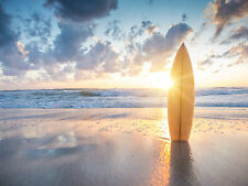 STUNNING SURFBOARD BEACH SUNSET CANVAS #62 QUALITY CANVAS PICTURE WALL ART A1