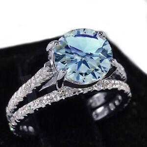 White Gold Aquamarine Wedding Engagement Eternity Sterling Silver Ring Set