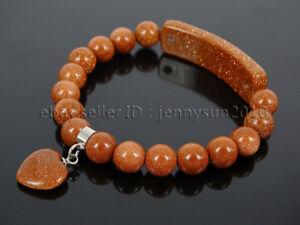 Natural Gemstone Heart Bar Round Beads Stretchy Bracelet Reiki Chakra Crystal