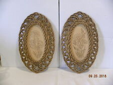 Vintage Burwood Products Wicker Frame Flower Pictures