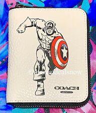 NWT Coach X Marvel Medium Zip Around Wallet Captain America Leather Chalk 1859