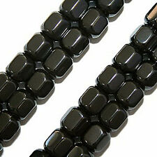 MAGNETIC HEMATITE BEADS LANTERN HEXAGON 6 SIDED 6X8MM BEAD STRANDS MH36
