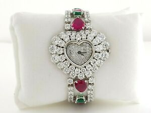 Solid 925 Sterling Silver Women's High Wrist Watch CZ Heart Dial Valentine's Day