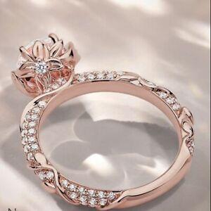 Elegant Rose Gold Filled Rings for Women White Sapphire Wedding Ring Size 8