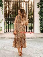 Zara Woman Snake Printed Midi Flowing Camel Dress Size S