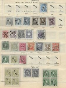 URUGUAY 1884-1889 Used/Unused/MH Classic Lot on Album Page Unchecked