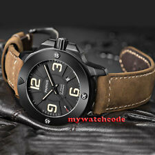 47mm Parnis black dial PVD Sapphire Glass 21 jewels miyato Automatic mens Watch