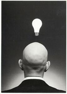 Great Idea Lightbulb Over Bald Man's Head by Rob Goldman Photography Postcard
