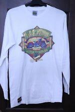 Harley-Davidson VINTAGE Bike 1990 3D EMBLEM LS White T Shirt MENS MEDIUM