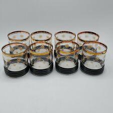 Set of 8 Mid Century Modern black Gold Snowflake Whiskey Glasses Vintage 22kt