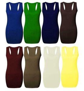 Women long back body con muscle vest gym stretch girl women plain top 6-22 racer