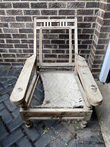 Antique Vintage Colonial Planter's Plantation Lounge Chair For Restoration