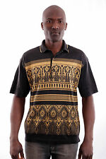 Montegrappa Short Sleeved polo TEE Top Arabesque T-shirts Black-Gold 40 M L FAB