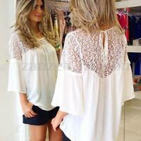 AU8-24 Boho Women Lace Crochet Embroidery Floral Splice Loose Top Blouse T Shirt