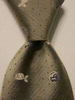 MOSCHINO Men's 100% Silk Necktie ITALY Luxury Geometric Gray/White/Blue EUC Rare