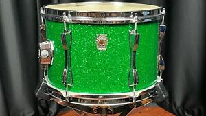"""Ludwig Vintage Drums 8""""x12"""" Sparkle Green Tom Tom Modified Used - SG1E"""
