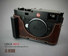LIM'S Leather Camera Metal Grip Half Case Dovetail Plate for Leica M10 Brown