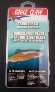 Eagle Claw 44pc Trout Ice Fishing Kit With Jigs, Weights, Hooks Swivels & More