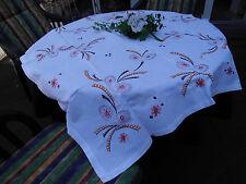 Handarbeit Tischdecke Stickerei 100% Baumwolle / Leinen Vintage ca.110 x 133 cm