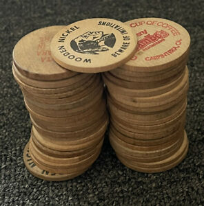 41 wooden coin nickel lot mcdonalds kinkos video rental store vintage rare