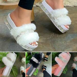 Rhinestone Slides Fuzzy Furry Slippers Platform Flip Flops Sandal Shaggy Shoes