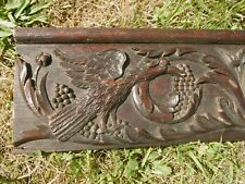 SUPERB 18thc GOTHIC OAK PANEL RELIEF CARVED WITH GOTHIC BIRD & SCROLLING