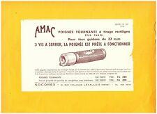 """LEVALLOIS-PERRET (92) ACCESSOIRES / POIGNEES de CYCLES AMAC """"SOCOREX"""" Tract 1955"""