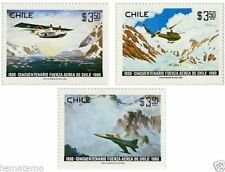 Chile 1980 #968-70 50 años Fuerza Aerea de Chile air force MNH