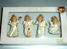 Goebel Hummel Angel Relief Ornament SET/4 Figurines Champagne #828141 New Boxed