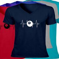 Unisex Tee T-Shirt Ball Heartbeat Lifeline Gift Print Shirts Hobby Pool Balls