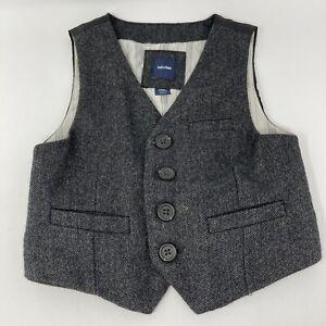 Baby Gap Vest Toddler 2 Years 2T Dark Gray Herringbone Wool Blend Waistcoat