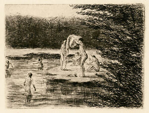 MAX LIEBERMANN, 'BADENDE JUNGEN (BOYS BATHING)', etching, 1896.