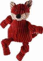 HuggleHounds Plush Corduroy Durable Knotties Fox Dog Toy, Maroon/Tan, Large