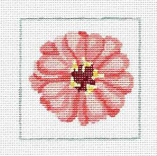"*New* Pink Zinnia 4"" Sq. Coaster handpainted Needlepoint Canvas by Jean Smith"