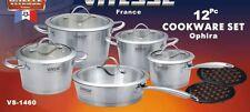 ViTESSE 12PC Tri-Ply Brush Stainless Steel Cookware Set Dutch Oven Saucepan