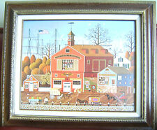 Rare Vintage Charles Wysocki Framed Lithograph Print Harbor Town, Plate Signed