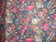 Vintage Cotton Fabric Shades Of Pink, Brown, Green White Floral On Blue 1Yd/42""