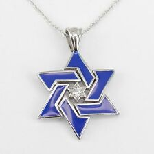 "Diamond and Blue Enamel Star of David Pendant Necklace 14K White Gold 18"" Chain"